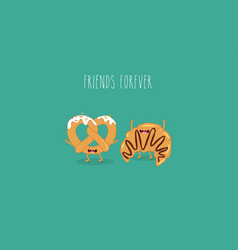 croissant and pretzel friends vector image