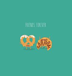 Croissant and pretzel friends vector