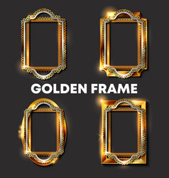 decorative vintage golden frames and borders vector image