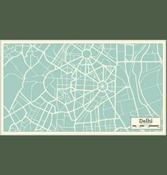 Delhi india map in retro style vector