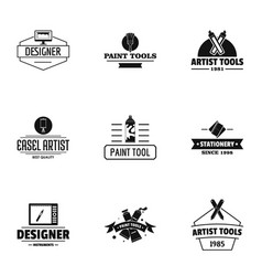 Designer tool logo set simple style vector