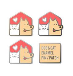 dog cat pet house home enamel pin patch design vector image