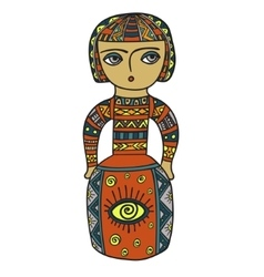 Ethnic statue sculpturedoll with patterns Print vector