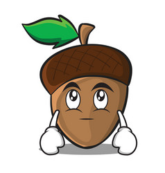 Eye roll acorn cartoon character style vector