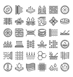 Fabric feature icons set outline style vector