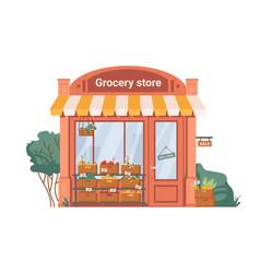 Facade exterior grocery shop fruits vegetables vector
