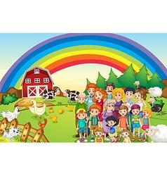 Family members living on the farm vector