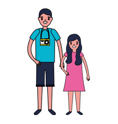father and daughter character family vector image