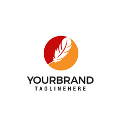Feather logo design concept template vector