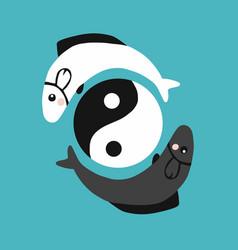 Fish yin-yang logo vector