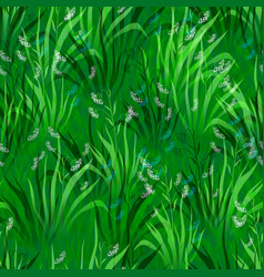 Flowers and grass seamless vector