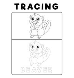 Funny beaver tracing book with example preschool vector