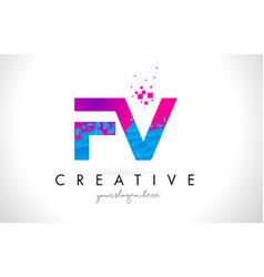 fv f v letter logo with shattered broken blue vector image