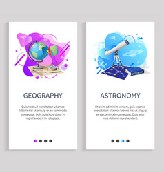 Geography and astronomy subjects in school web vector