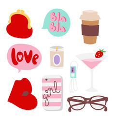 Girl fashion accessories casual woman style vector