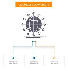 Globe network arrow news worldwide business flow vector