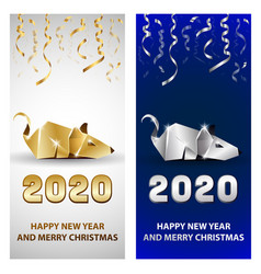 golden and silver rat as a symbol chinese new vector image