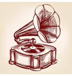 Gramophone- vintage hand drawn llustration vector