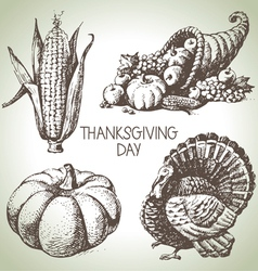 Hand drawn vintage Thanksgiving Day set vector