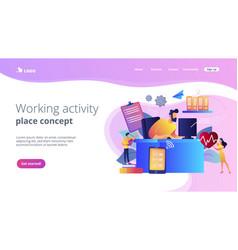Health-focused iot desks concept landing page vector