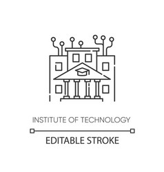 institute technology pixel perfect linear icon vector image