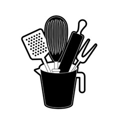 jar with kitchen utensils and roller pin black vector image