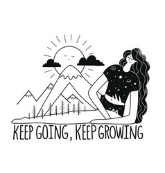 keep going growing lettering poster woman vector image
