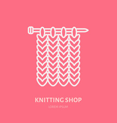 Knit shop line logo yarn store flat sign vector