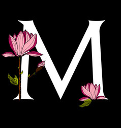 letter m with poppy flower vector image vector image