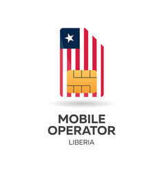 Liberia mobile operator sim card with flag vector