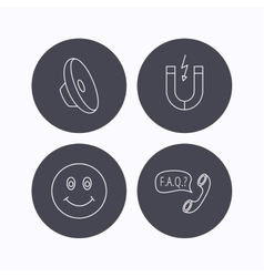 Magnet smiling face and faq speech bubble icons vector image