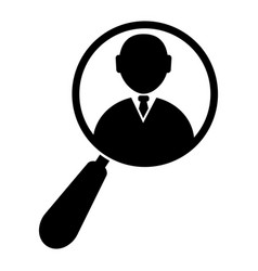 magnifying glass zooming a businessman icon vector image