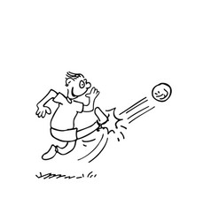 men kicking a ball outlined cartoon handrawn vector image