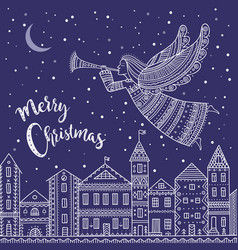 merry christmas angel with horn flying above vector image
