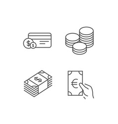 Money cash and currency line icons vector
