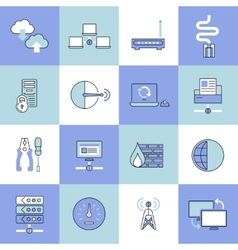 Network icons set flat line vector image