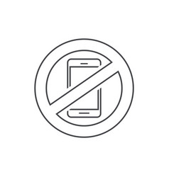 No mobile phone sign line vector