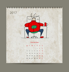office life calendar 2017 design vector image