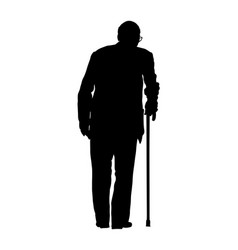 old man person with stick silhouette grandfather vector image