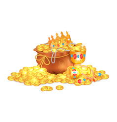old sack full of shiny royal gold and gemstones vector image