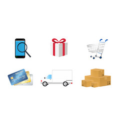 online shopping object icon set vector image