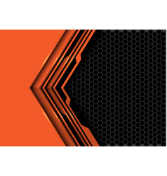Orange black circuit arrow grey hexagon mesh vector
