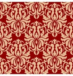 Ornate arabesque repeat pattern on red vector image