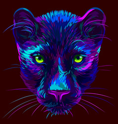 Panther abstract multi-colored neon portrait vector