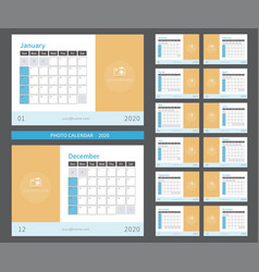 photo calendar 2020 ready to print vector image