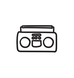 radio cassette player sketch icon vector image