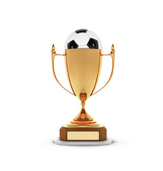 realistic golden trophy cup with gold ball inside vector image