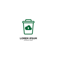 Recycle trash and cloud simple line logo template vector