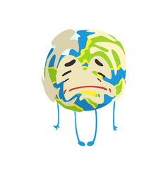 Sad cartoon earth planet character crying funny vector