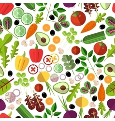 Salad ingredients seamless pattern vector image